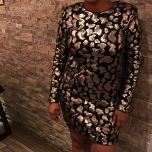 H&M Black Velvet & Gold Sequin Dress